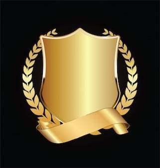 Золотой и черный щит с золотыми лаврами