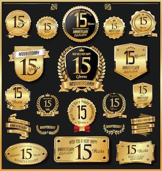 Юбилейные ретро старинные золотые значки и этикетки вектора