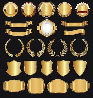 レトロゴールデンリボンラベルと盾ベクトルコレクション