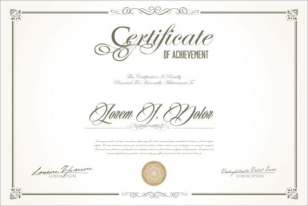 レトロなヴィンテージデザインの修了証書