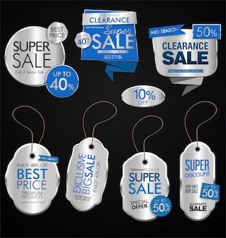 Винтажный стиль продажа теги дизайн векторной коллекции
