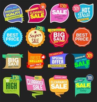近代的な販売のステッカーやタグカラフルなコレクション