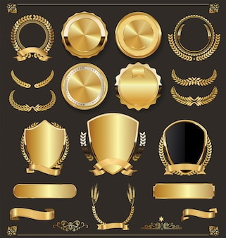 高級レトロバッジ金と銀のコレクション