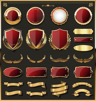 Золотые ретро старинные значки и этикетки