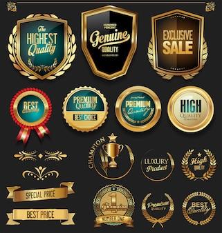 Коллекция роскошных золотых и черных элементов дизайна
