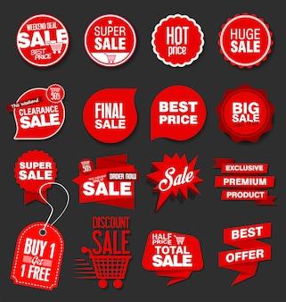 現代の販売用バナーとラベルのコレクション