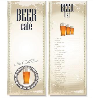 ビールパブのメニューリスト