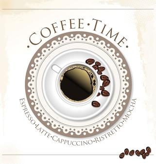 コーヒーと紅茶のラベル