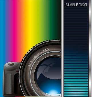 カメラのレンズとカラフルな背景