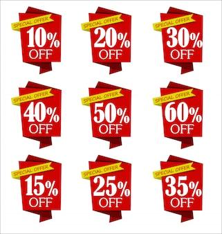 オファーと販売割引赤いバナーコレクションのセット