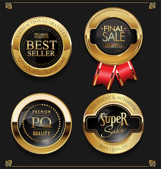 Золотая распродажа этикетки ретро винтаж дизайн коллекции