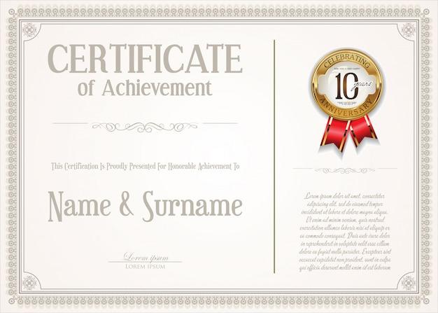 Элегантный сертификат или диплом ретро-винтажный дизайн