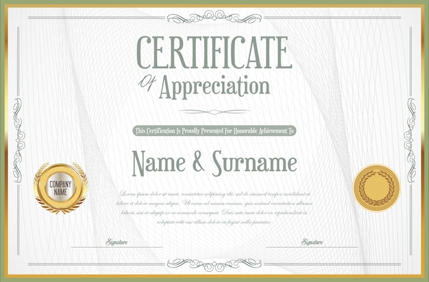 エレガントな証明書または卒業証書のレトロなビンテージデザイン