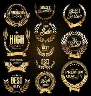 Ретро винтаж золотые лавровые венки продажа коллекции вектор