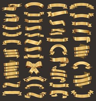 様々なゴールドリボンのコレクションベクトルイラスト