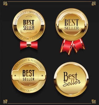 Коллекция элегантных золотых премиум бестселлеров этикеток