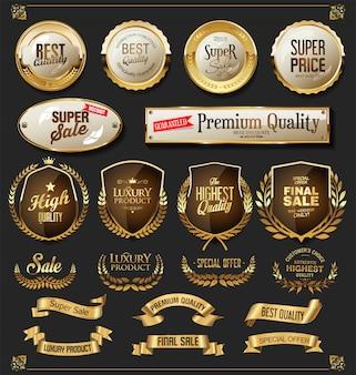 レトロなゴールデンリボンラベルと盾ベクトルコレクション