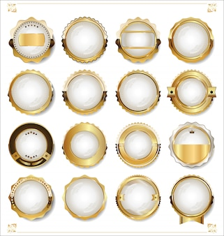 Золотые пустые белые этикетки ретро винтаж дизайн коллекции
