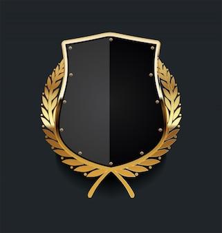 Золотой щит с золотым лавровым венком