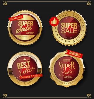 Золотые этикетки продажи