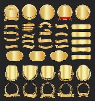 ゴールデンバッジラベル月桂樹とリボンのコレクション