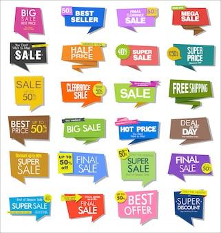 カラフルな販売ステッカーとタグのコレクション