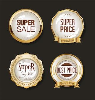 豪華な黄金のデザイン要素のラベルのコレクション