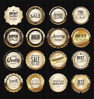レトロなビンテージシルバーとゴールドのバッジとラベルのコレクション