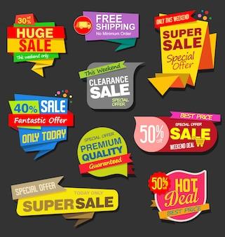 現代のカラフルな販売ステッカーコレクション