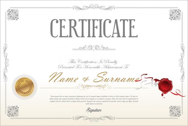 証明書または卒業証書のレトロなデザインテンプレート