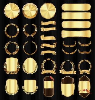 さまざまなバッジとラベルのゴールデンコレクション