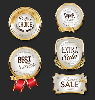 Золотая распродажа этикетки ретро винтаж коллекция