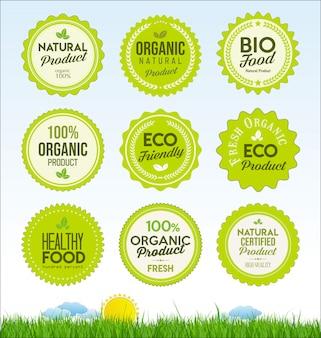Набор значков здоровых органических фермы свежих продуктов