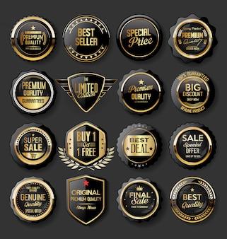 Черно-золотые значки иллюстрации супер продажа коллекции