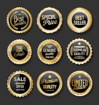 黒と金のバッジイラストスーパーセールコレクション