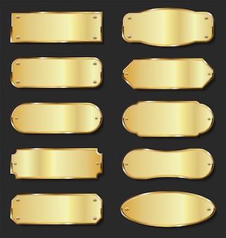 Коллекция золотых металлических пластин