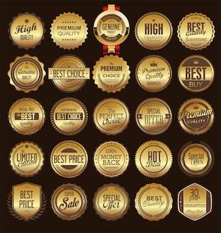 Ретро старинные золотые значки и метки коллекции