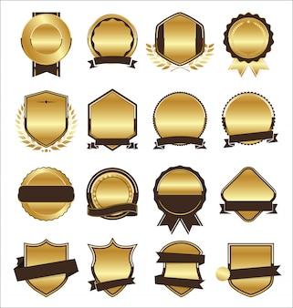 Коллекция золотых плоских щитов, значки и ярлыки в стиле ретро