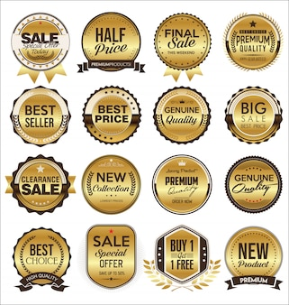 Коллекция золотых плоских этикеток в стиле ретро