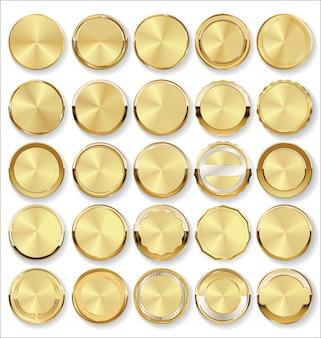 黄金のバッジとラベルのレトロなスタイルのコレクション
