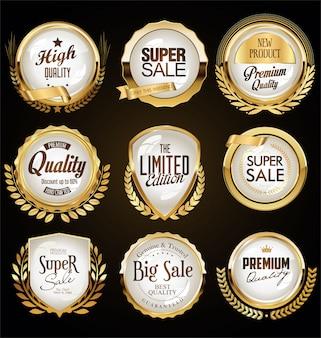 Золотая коллекция различных значков и ярлыков