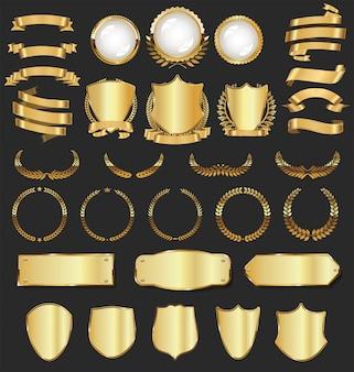 豪華な黄金のバッジとラベル