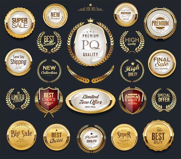 Золотые ярлыки и лавровые ретро старинные коллекции