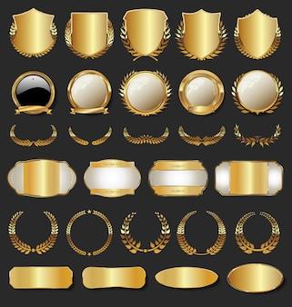 Коллекция золотых значков, ярлыков, лавровых щитов и металлических пластин