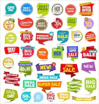 Современная распродажа наклеек, бирок, баннеров и значков.