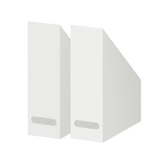 Вертикальное хранилище для бумаг. лоток для бумаги. офисные принадлежности. изолированные на белом.