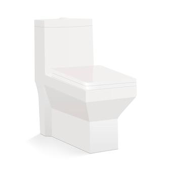 白い背景の側面図に分離された正方形のセラミックトイレ。図
