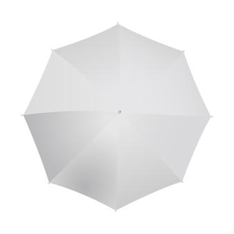 白で隔離される傘のトップビュー。