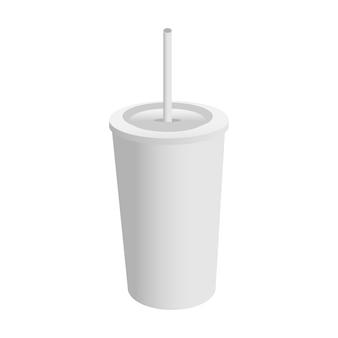 白い背景で隔離のストローで空白のプラスチックカップ