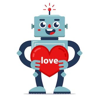 Милый робот дарит валентинку признание в любви. искусственный интеллект. отношения в будущем.